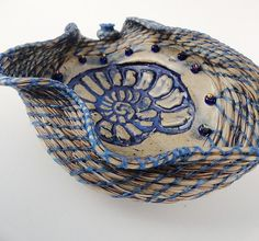 Blue Wave Blossom, Horsehair Basket, Coiled with Blonde Horse Hair, Art Sculpture, Blue Cream Bone, Ammonite on Etsy, $105.00