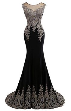 fd62b282569 JAEDEN Women Evening Dresses Lace Mermaid Prom Dress Gown FormalBlack US12  -- Details can be