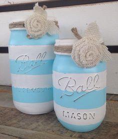 Aqua blue and white striped painted mason jars rustic summer decor painted jars beachy decor  on Etsy, $16.00