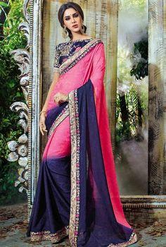 Ravishing Blue and Pink Saree