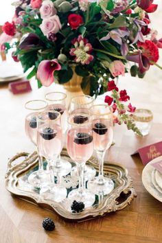 Blackberries & pink champagne! Cute drink for Valentine's Day.
