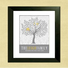 Personalized Family Tree Custom Art Print by InvitingMoments Personalised Family Tree, Personalized Mother's Day Gifts, Personalized Wall Art, Personalized Wedding, Family Tree Print, Family Tree Wall, Tree Wall Art, Tree Art, Yellow Artwork