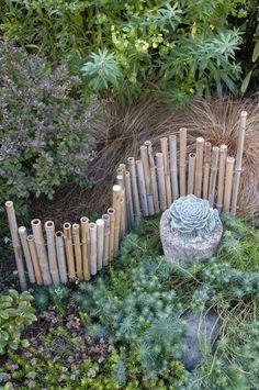 Bamboo edging in the garden, show Jill