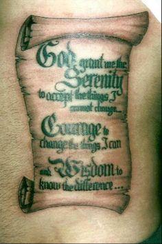 Gad gave me serenity scroll tattoo designs