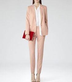 Reiss Indi Long Line Blazer and matching Reiss Indi Slim-Fit Trousers in Peach