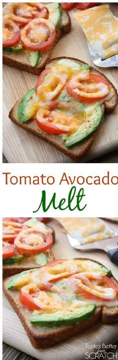 Tomato Avocado Melt - 11 Healthy Office Snacks | GleamItUp