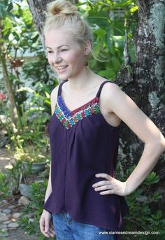 Nakita Purple Womens Cami Top With Laos Embroidery and Beaded Fringe