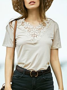SHARE & Get it FREE | Lacing Spliced V-Neck Short Sleeve T-ShirtFor Fashion Lovers only:80,000+ Items • New Arrivals Daily Join Zaful: Get YOUR $50 NOW!