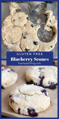 These gluten free blueberry scones make a delicious breakfast or brunch. Scones made from scratch are so easy and the whole family will love them. Easy how step by step directions to make the best gluten free scones. Use fresh or frozen blueberries. fearlessdining.com #scones #glutenfree #blueberry