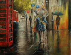 Original Oil PaintingRainy Day in London Modern by Jamesartstudio