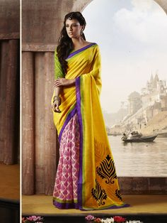Pure #Bhagalpuri silk #Indian premium printed #Saree banarasiya buy now from #craftshopsindia