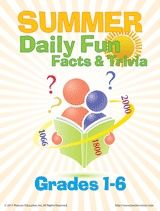Summer Daily Fun Facts & Trivia (Grades 1-6) Trivia and daily events are both fun ways to keep kids engaged in learning during the summer months. Our calendar outlines historical events and fun holidays for every day of the summer, and the trivia worksheets include games to play and problems to solve daily during the break. #summerlearning