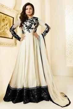 Madhubala as Drashti Dhami White Designer Georgette And Dupion Suit, Latest Bakra Eid Collection 2016 Drahsti Dhami as Madhubala Suit, Salwar kameez, Festival Dresses Available here only...
