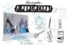 Popup card snowy mountains