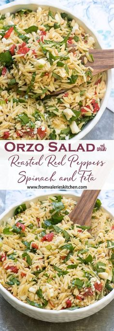This Orzo Salad with Roasted Red Peppers, Spinach, and Feta is a light, fresh dish that is a delicious choice for a summer BBQ menu. To make vegan, use a dairy free feta. Vegetarian Recipes, Cooking Recipes, Healthy Recipes, Grilling Recipes, Healthy Tuna, Healthy Grilling, Healthy Eats, Diet Recipes, Vegetarian Cooking
