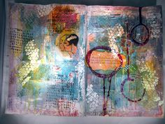 Art Journal page with 7 Dots Studio & Helmar Decoupage and Craft Paste  - also uses Faber Castell Gelatos