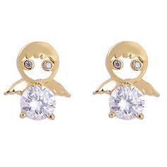 Calors Vitton Women Fashion Jewelry 18K Gold Plated Cubic Zircon small Angle Stud Earrings Clear 34 -- Want additional info? Click on the image. Note:It is Affiliate Link to Amazon.