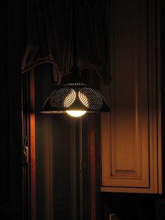 Antique, vintage colander light....
