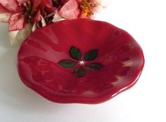 Fused Glass Christmas Bowl in Deep Red with Green by bprdesigns, $25.00