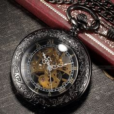 This vintage pocket watch has it all. A sturdy case. See through skeleton face…
