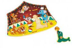 Puzzle Stern Zirkus | Holzpuzzle mit 6 Puzzleteilen in 3D, die auch separat zum Spielen benutzt werden können. | ab 18 Monaten | 6 Puzzleteile aus Sperrholz | Dicke: 1,5 cm | Maße: 22 x 27,2 x 2,5 cm | erhältlich bei www.kultstuecke.com