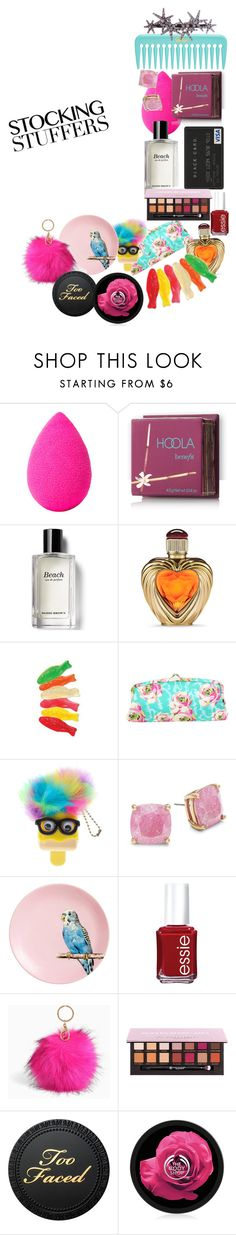 """""""Stocking Stuff"""" by mermadem8 ❤ liked on Polyvore featuring beauty, beautyblender, Hoola, Bobbi Brown Cosmetics, Victoria's Secret, Amy Butler, Kate Spade, H&M, Essie and Torrid"""