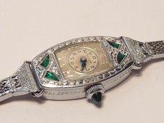 1924 Bulova MISS AMERICA Emerald Art Deco Watch Runs | eBay  $689
