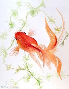 goldfish original watercolor painting