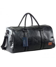 5b0dedc257 Mens PU Leather Oversized Weekender Duffel Bag Overnight Handbag - Black -  CA189ZSLAGN  Bags