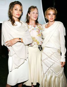 Angelina Jolie, Meryl Streep and Lindsay Lohan attend the Yele Haiti Haitian Relief Benefit (2005)
