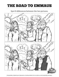 Luke 24 Road to Emmaus Kids Spot The Difference Luke 24 Road to Emmaus Kids Spot The Difference: Can your kids spot the difference between these two Road to Emmaus illustrations? Featuring gorgeous artwork this Road to Emmaus activity is perfect for you Sunday School Crafts For Kids, Sunday School Activities, Bible Activities, Sunday School Lessons, Lessons For Kids, Bible Lessons, Bible Story Crafts, Bible Crafts For Kids, Cain Y Abel
