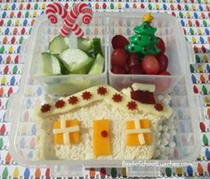 Bento Lunch: Gingerbread House. #Christmas #gingerbreadhouse #bento www.facebook.com/BentoSchoolLunches