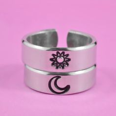 Sun And Moon Pair Rings – Simple Couples Rings, Friendship Gift Rings, Custom Personalized Hand Stamped Aluminum Rings