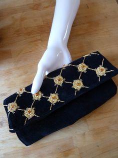 Vintage 1980's/90's Zardosi Embroidery Starbursts and Trellis on Black Velvet…