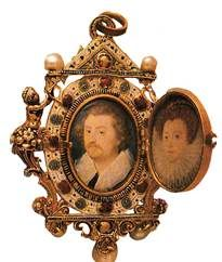 KATHERINE WALSINGHAM (January 8, 1559-1585) was the daughter of Sir Thomas Walsingham of Scadbury, Kent and Dorothy Guildford. In 1576, as second of three wives, she married Thomas Gresley of Drakelowe. They had five sons and three daughters: William, Katherine, Henry, George, John, Dorothy, and Walsingham. The Gresley jewel, now in the Victoria and Albert Museum and containing portrait miniatures of Thomas and Katherine Gresley, by Nicholas Hilliard, was a wedding gift from Queen Elizabeth. Tudor History, British History, Historical Images, Historical Clothing, Miniature Portraits, Miniature Paintings, Tudor Monarchs, Tudor Era, January 8