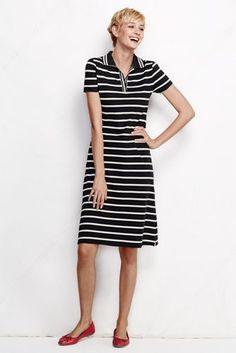 Women's Tall Short Sleeve Polo Dress - Stripe