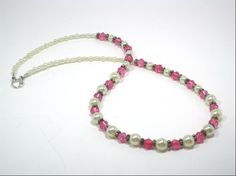 Elegant Pink White Pearl Beaded Necklace by cynhumphrey on Etsy, $18.99