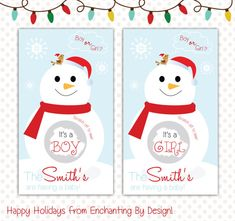 Happy Holidays Snow Man Baby Gender Reveal by EnchantingByDesign