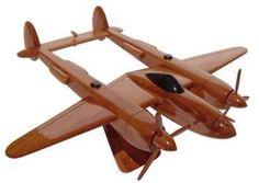 P-38 Lightening Natural Wood Desktop model airplane