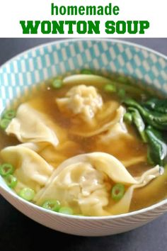 A delicious homemade wonton soup made from scratch with a filling of shrimp/prawn and pork in a flavourful chicken broth, this is comfort food at its Homemade Chinese Food, Easy Chinese Recipes, Asian Recipes, Asian Desserts, Chinese New Year Food, Chinese Dinner, Learn Chinese, Dumplings For Soup, Dumpling Recipe