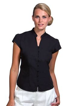 Kustom Kit Ladies Cap Sleeve V Neck Continental Blouse Office Outfits, Fall Outfits, Casual Outfits, Shirt Tutorial, Dress Tutorials, Caps For Women, Blouse Styles, Shirt Blouses, Mens Tops