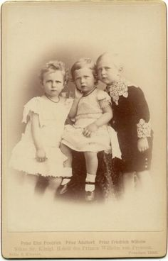 The 3 eldest children of Augusta and Wilhelm. Left to right, Prince Eitel-Friedrich, Prince Adalbert, and Crown Prince Friedrich Wilhelm. This is my favorite pic of these 3 brothers together. I just love the serious looks on their little faces!