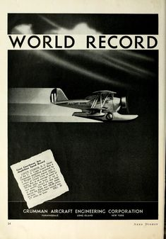 Aero – Digest Grumman Aircraft, Vintage Airplanes, World Records