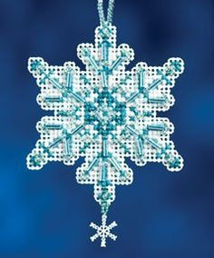 """$6.74 + $2.49 shipping within the U.S. Aqua Crystal - Beaded Cross Stitch Kit. Kit Includes: Beads, charms, perforated paper, needles, floss, chart and instructions. Size: 2.3"""" x 2.75"""". Other snowflakes in other sets."""