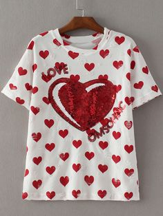 Shop White Short Sleeve Letter Heart Sequined Ripped Hole T-shirt online. SheIn offers White Short Sleeve Letter Heart Sequined Ripped Hole T-shirt & more to fit your fashionable needs.