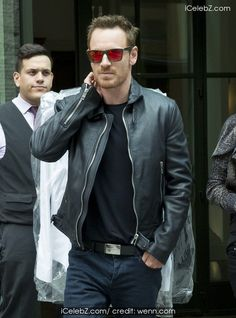Michael Fassbender Out and about wearing black leather jacket and red tinted mirror sunglasses http://www.icelebz.com/events/michael_fassbender_out_and_about_wearing_black_leather_jacket_and_red_tinted_mirror_sunglasses/photo1.html