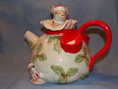 Teapot with Holly & Berries w Christmas Mouse on Lid.