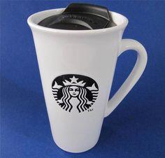"""Starbucks 2013 Coffee Mug Cup Travel Mermaid Black Logo, holds 16 oz, 6"""" Tall, Has Lid $17.95 #Starbucks"""
