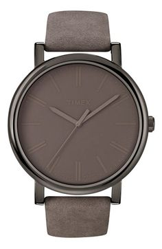 Gunmetal, Timex® 'Easy Reader' Leather Strap Watch - $60.00