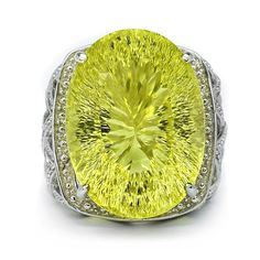 44.50 Carat Natural Yellow Lemon Citrine Quartz Man Ring in 925 Sterling Silver #Multajewelry #SolitairewithAccents